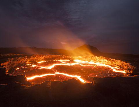 Atmosphere, Heat, Orange, Amber, Lava, Fire, Volcanic landform, Geological phenomenon, Atmospheric phenomenon, Ecoregion,
