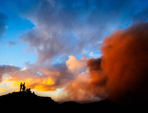 Sky, Cloud, Atmosphere, Orange, Sunset, Cumulus, Dusk, Sunrise, Afterglow, Evening,