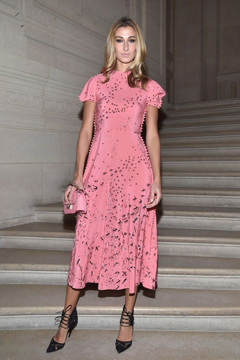 Clothing, Stairs, Sleeve, Shoulder, Dress, Joint, Pink, Magenta, One-piece garment, Pattern,