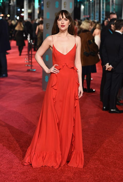 Clothing, Human, Flooring, Trousers, Dress, Shoulder, Red, Outerwear, Carpet, Premiere,