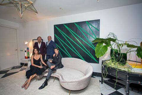 Human, Interior design, Comfort, Green, Floor, Room, Dress, Interior design, Design, Houseplant,