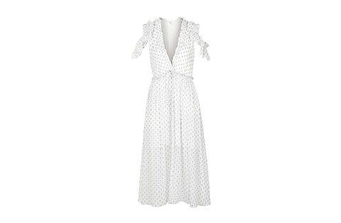 Clothing, Product, Textile, Dress, White, Collar, Pattern, Style, Formal wear, One-piece garment,