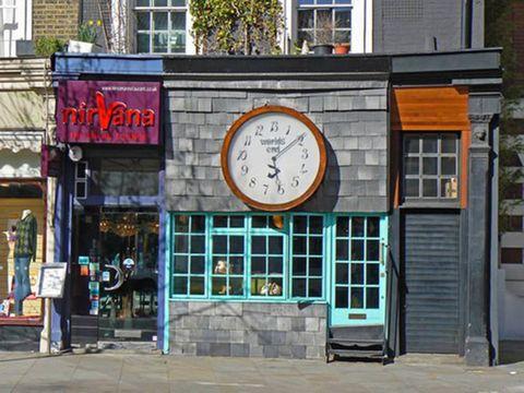 Window, Fixture, Signage, Door, Clock, Wall clock, Brick, Watch, Electronic signage,