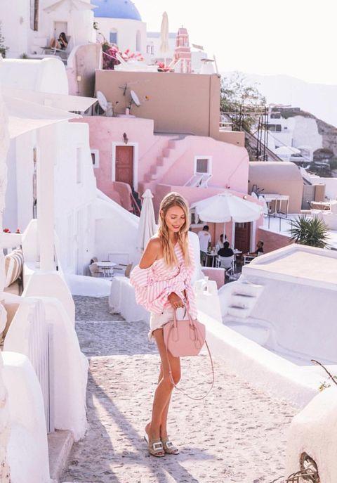 White, Photograph, Pink, Fashion, Summer, Street fashion, Dress, Outerwear, Leg, Vacation,