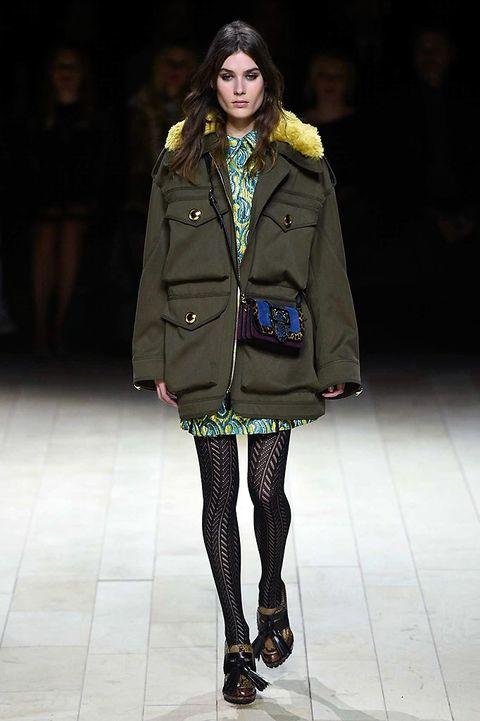 Clothing, Coat, Textile, Winter, Fashion show, Joint, Outerwear, Jacket, Fashion model, Style,