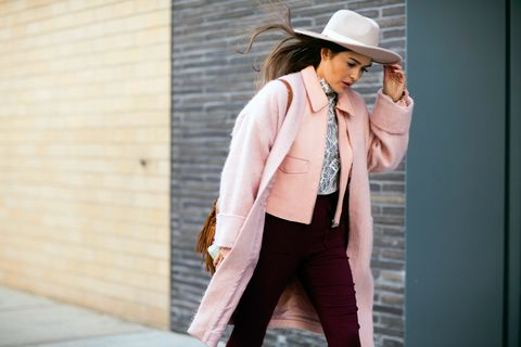 Hat, Trousers, Coat, Outerwear, Style, Sun hat, Fashion accessory, Bag, Street fashion, Blazer,