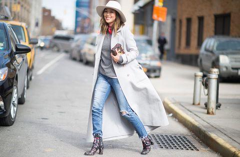 Clothing, Denim, Road, Textile, Photograph, Street, Outerwear, Hat, Asphalt, Street fashion,