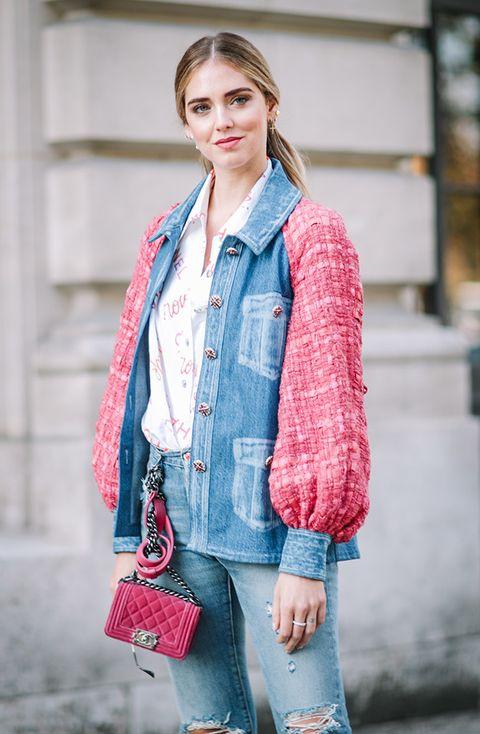 Clothing, Sleeve, Textile, Outerwear, Denim, Collar, Style, Street fashion, Bag, Beauty,