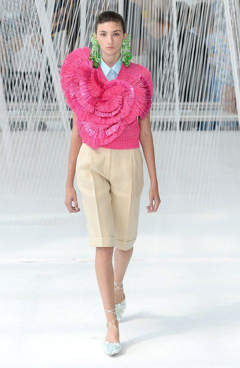 Fashion model, Fashion show, Fashion, Clothing, Runway, Pink, Waist, Shorts, Neck, Fashion design,