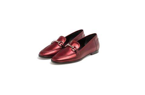 Dress shoe, Carmine, Maroon, Leather, Tan, Ballet flat, Synthetic rubber,