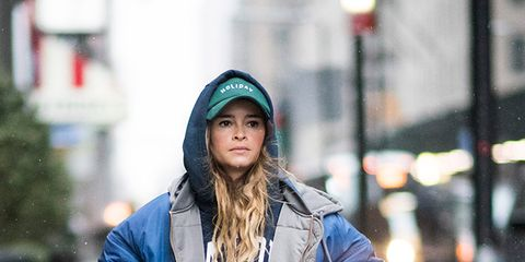 Blue, Winter, Jacket, Textile, Outerwear, Style, Street fashion, Coat, Cap, Street,