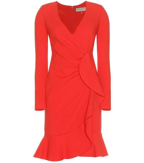 Sleeve, Dress, Shoulder, Red, Standing, Formal wear, Style, Pattern, Orange, One-piece garment,