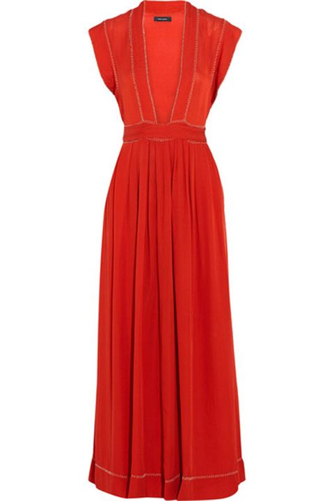 Dress, Sleeve, Textile, Red, One-piece garment, Formal wear, Collar, Orange, Pattern, Day dress,