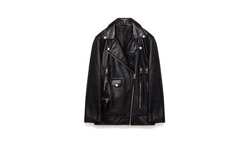 Jacket, Coat, Sleeve, Collar, Textile, Outerwear, Leather jacket, Black, Leather, Zipper,