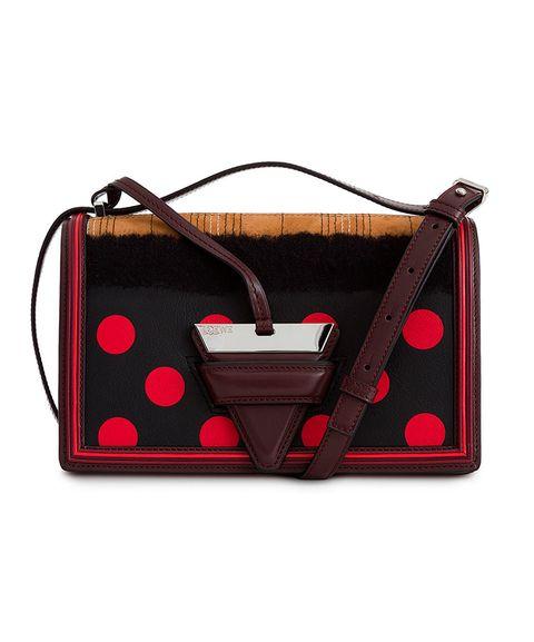 Bag, Handbag, Red, Pattern, Brown, Fashion accessory, Pink, Design, Polka dot, Leather,