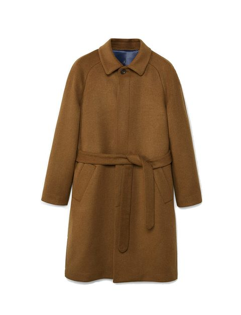 Clothing, Coat, Outerwear, Overcoat, Trench coat, Sleeve, Collar, Tan, Brown, Beige,