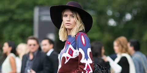 Clothing, Footwear, Leg, Hat, Outerwear, Style, Coat, Street fashion, Dress, Costume accessory,