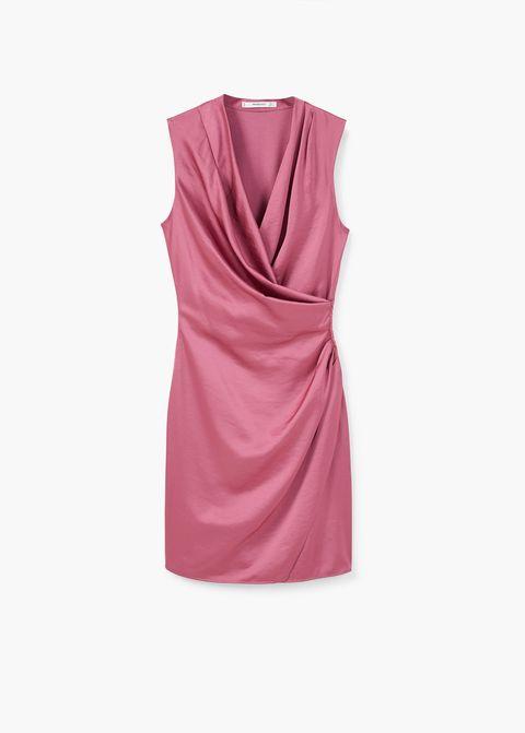 c84b16e34c Vestido rosa con plisado en la cintura
