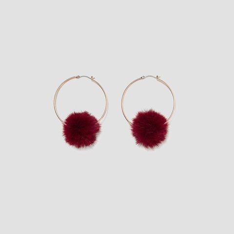Red, Earrings, Jewellery, Fashion accessory, Fur, Magenta,