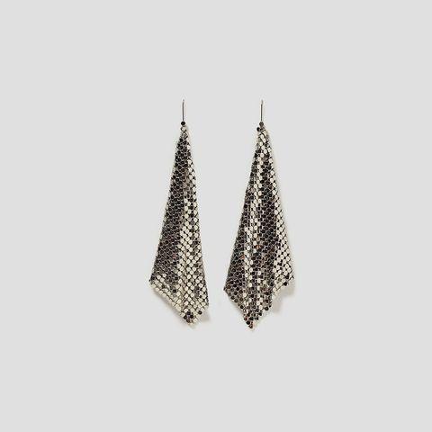 Earrings, Fashion accessory, Jewellery, Silver, Tree, Cone, Metal, Silver, Triangle, Ornament,