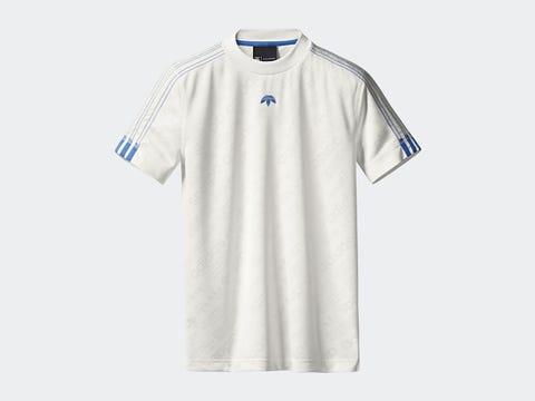 Clothing, White, T-shirt, Sportswear, Sleeve, Jersey, Sports uniform, Active shirt, Line, Collar,