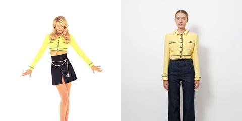 Yellow, Collar, Sleeve, Dress shirt, Shoulder, Denim, Waist, Standing, Textile, Joint,