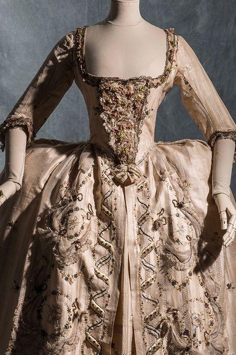Clothing, Sleeve, Dress, Textile, Formal wear, One-piece garment, Costume design, Pattern, Embellishment, Day dress,