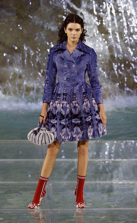 Clothing, Blue, Dress, Sleeve, Shoulder, Human leg, Fashion show, Style, Fashion model, Street fashion,
