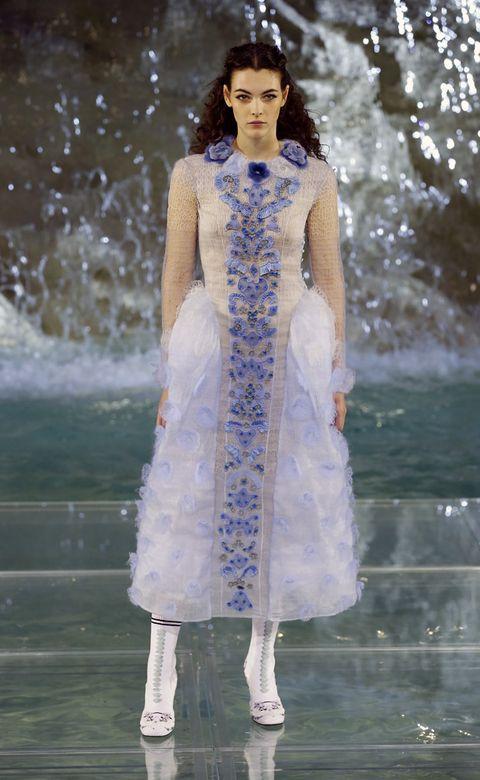 Clothing, Blue, Dress, Winter, Fashion model, Street fashion, One-piece garment, Fashion show, Beauty, Electric blue,