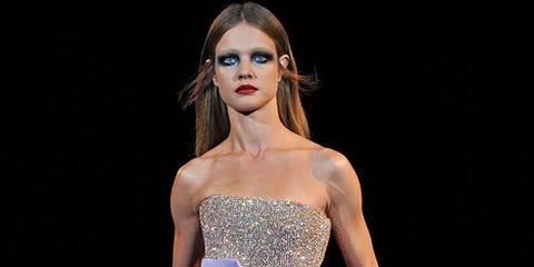Dress, Gown, Style, Purple, Strapless dress, Fashion model, Waist, Fashion, Embellishment, Wedding dress,