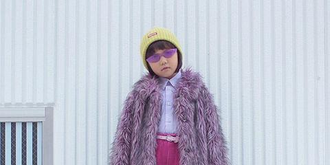 Clothing, Pink, Purple, Violet, Outerwear, Fur, Fashion, Street fashion, Magenta, Costume,