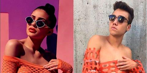 Eyewear, Sunglasses, Orange, Glasses, Cool, Muscle, Vision care, Model, Peach, Fashion model,