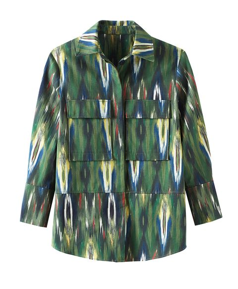Clothing, Outerwear, Sleeve, Green, Jacket, Camouflage, Pattern, Coat, Blouse, Top,