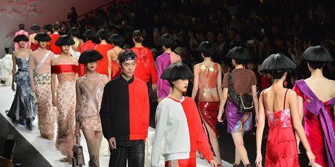 Fashion, Event, Fashion design, Fashion show, Ceremony, Haute couture, Dress, Runway, Crowd, Tradition,