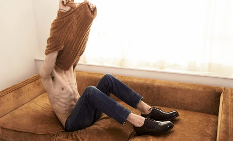 Leg, Brown, Trousers, Denim, Human leg, Shoe, Jeans, Textile, Comfort, Tan,