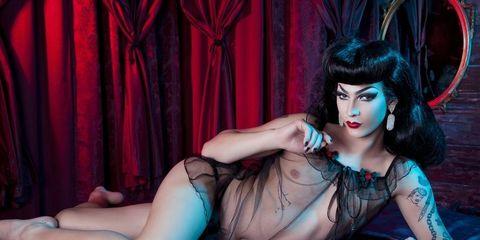 Beauty, Agent provocateur, Purple, Cg artwork, Fetish model, Model, Leg, Photography, Black hair, Photo shoot,