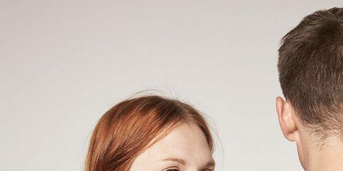 Clothing, Hair, Head, Ear, Hairstyle, Sleeve, Skin, Forehead, Shoulder, Textile,