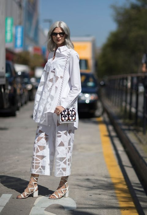 Clothing, White, Street fashion, Photograph, Fashion, Snapshot, Shoulder, Footwear, Outerwear, Fashion model,