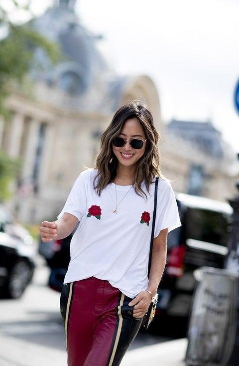 White, Street fashion, Clothing, Fashion, Red, Eyewear, Pink, Shoulder, Snapshot, T-shirt,
