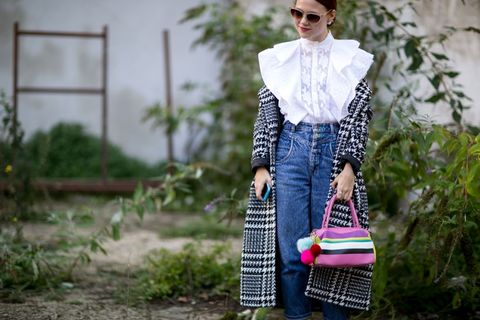 Clothing, Eyewear, Sunglasses, Textile, Bag, Outerwear, Style, Fashion accessory, Pattern, Street fashion,