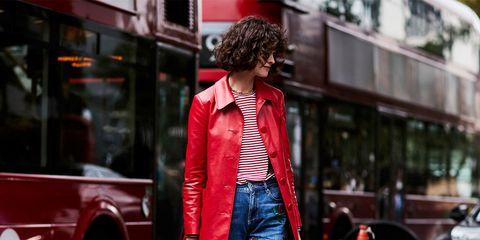 Clothing, Street fashion, Jeans, Red, Photograph, Fashion, Denim, Pink, Snapshot, Jacket,