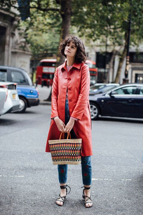 Clothing, Street fashion, Photograph, Fashion, Red, Orange, Snapshot, Coat, Footwear, Outerwear,