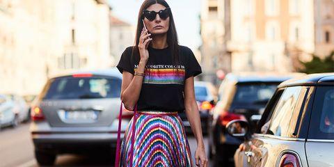 Street fashion, Clothing, Fashion, Waist, Shoulder, Yellow, Beauty, Pink, Crop top, Sunglasses,