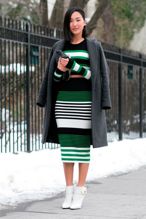 Clothing, Winter, Green, Sleeve, Shoulder, Textile, Joint, Outerwear, Style, Street fashion,
