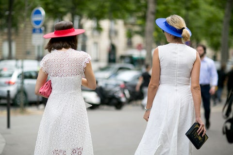 Clothing, Hat, Dress, Shoulder, Photograph, Joint, Outerwear, Fashion accessory, White, Street fashion,