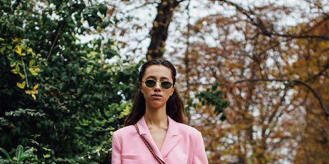 Pink, Clothing, Street fashion, Blazer, Fashion, Outerwear, Suit, Jacket, Pantsuit, Spring,