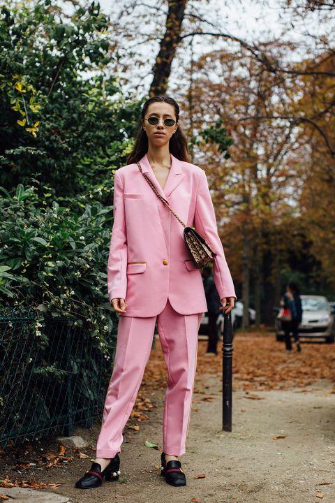 Pink, Clothing, Suit, Street fashion, Pantsuit, Fashion, Outerwear, Blazer, Formal wear, Spring,