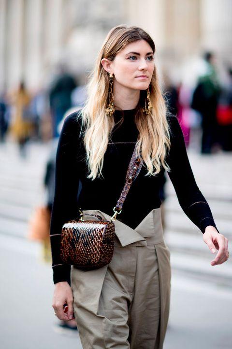 Street fashion, White, Clothing, Fashion, Shoulder, Beauty, Waist, Brown, Pink, Outerwear,