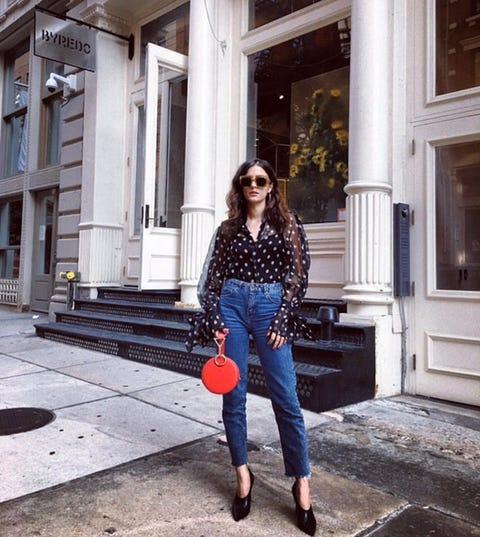 Jeans, Clothing, Denim, Blue, Street fashion, Cobalt blue, Shoulder, Red, Polka dot, Fashion,