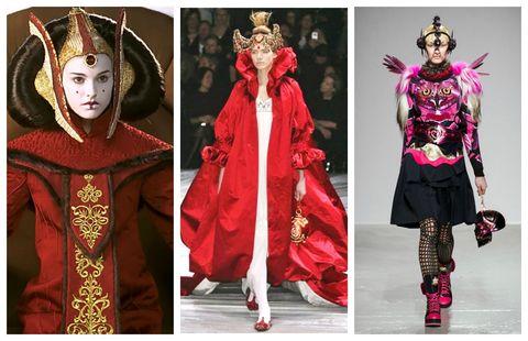 Clothing, Fashion, Costume design, Costume, Outerwear, Fashion design, Sleeve, Magenta, Fashion model, Robe,
